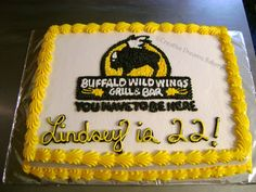 Buffalo Wild Wings This cake was a birthday cake with the Buffalo Wild Wings Logo on it. Grilled Wings, Buffalo Wild Wings, Wings Logo, Cake Central, Fun Things, Bakery, Birthday Cake, Parties, Foods