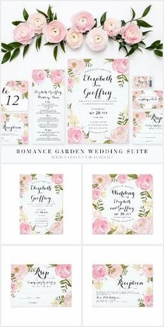 Romance Garden Wedding Suite - Romance Garden Wedding Stationery Suite | Elegant light pink wedding invitation with hand drawn pink roses, pink flowers, pink peonies, purple peonies, beige flowers, dark green leaves and twigs in watercolor hand painted style. Sophisticated handwritten font style, with classic chic typography.