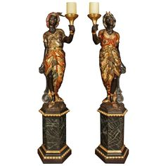 True Pair of Italian 18th Century Venetian Blackamoors | From a unique collection of antique and modern statues at https://www.1stdibs.com/furniture/building-garden/statues/