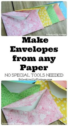 Forgotten Art of Letter Writing and Simple DIY Envelopes Make DIY Envelopes from any Paper - cute for weddings, invites or gifts! Make DIY Envelopes from any Paper - cute for weddings, invites or gifts! How To Make An Envelope, How To Make Envelopes, Karten Diy, Envelope Art, Envelope Templates, Diy Envelope Tutorial, Envelope Scrapbook, Paper Envelopes, Making Envelopes