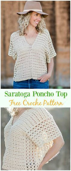 Crochet Saratoga Poncho Top Free Pattern -Crochet Summer Top Free Patterns