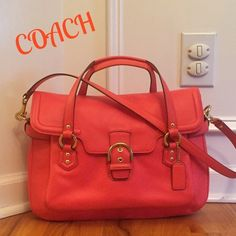 """COACH CAMPBELL LEATHER EVA FLAP SATCHEL The CLASSY look and great for SPRING!!!  Used less then 3 times,  retail $458. Coach Campbell Eva Leather Satchel. This stylish beauty in wrapped soft leather with brass hardware. The top flap features the Campbell """"belt & buckle"""" hardware with magnetic snap closure, under the flat is an additional exterior pocket. Dual handles w/3.5"""" drop also 21"""" removable shoulder strap. Hang tag. Beautiful Orange with orange sateen fabric, zip pocket and 2 slip…"""
