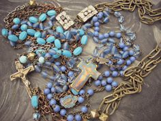 Bell Bottom Blues...5 strand vintage by gypsyfishstudio on Etsy