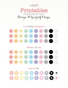 Printables exclusively for the Design It Yourself Charm! South Hill Designs, Love Letters, Design Your Own, Charmed, Bright, Lettering, Lockets, Diy, Words