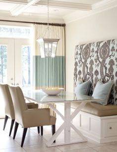 I'm absolutely loving the fresh look of cream, beige and white color palette with the gorgeous cream and seafoam stria drapery. The fun fabric for the bench seating adds the perfect compliment unique to the individual client's taste! http://www.decorview.com/krissh
