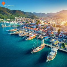 Aerial view of boats and beautiful architecture at sunset by den-belitsky. Aerial view of boats and beautiful architecture at sunset in Marmaris, Turkey. Colorful landscape with boats in marin. Turkey Tourism, Turkey Travel, Pamukkale, Seaside Resort, Seaside Towns, Costa, Marmaris Turkey, Holiday Resort, Paradise On Earth