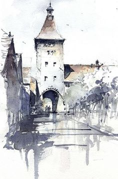 40 ideas landscaping illustration urban for 2019 Watercolor Architecture, Architecture Drawings, Watercolor Landscape, Minimal Architecture, Architecture Panel, Architecture Portfolio, Architecture Design, Sketch Painting, Watercolor Sketch