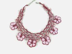 Pink And Burgundy Daisy Flower Crochet Oya Lace Choker by Nakkashe