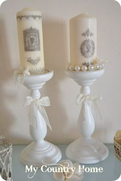 Shabby Chic Vintage Candleabra DIY! + Separate How To Easily Tranfer Images on Candles tutorial