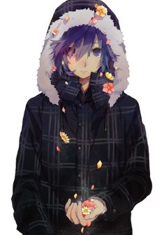 Anime guy with flowers.