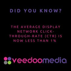 Did You Know? 🤔💬💡 . The Average Display Network Click-Through-Rate (CTR) is less than 1% . 🥇🏆 Digital Marketing Agency Helping Small Businesses Grow Online, Innovate & Transform . 🎯 Digital Marketing 🧩 Consultancy 🛒 eCommerce 🖥 Web Design . 📈 Work With Us to Grow Your Business Online and Get Ahead of Your Competitors . 🔗 www.veedoomedia.com . Follow Us 👉 @veedoomedia 👈 to Get More Valuable Insights into Digital Marketing . . . . . #sem #digitalmarketing #onlinemarketing… Online Marketing, Digital Marketing, Ecommerce Web Design, Growing Your Business, Small Businesses, Did You Know, Online Business, Insight, Innovation