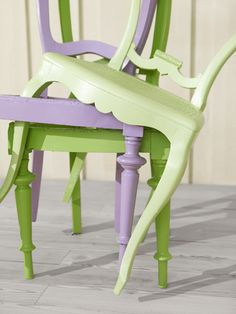 green and purple could gather random chairs to spray paint to use for wedding Lavender Cottage, Lavender Green, Green And Purple, Lavander, Mint Green, Painted Furniture, Furniture Design, Love Chair, My Ideal Home