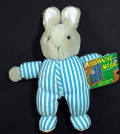"Eden Goodnight Moon Gray Bunny Rabbit Plush Stuffed Animal 11"" Tall Striped PJs #Eden"