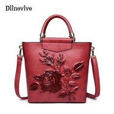 DIINOVIVO Classic Women Handbags Vintage Exclusive Female Totes Bag Luxury Leather Designer Shoulder Bags Embossed Bag WHDV0178 #Affiliate