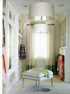 Dressing room and luxury for any woman.interior design/ home decor Dressing Room Closet, Closet Bedroom, Dressing Rooms, Dressing Area, Master Closet, Closet Space, Closet Curtains, Wardrobe Closet, Glam Closet