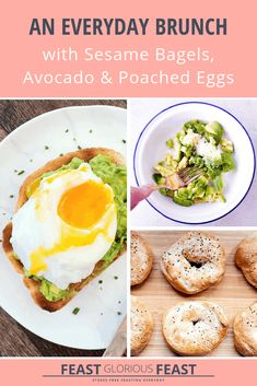 Sounds rather hipster but homemade bagels topped with smushed avocado and poached eggs might just be the ultimate everyday brunch. Poached Eggs, Avocado Egg, Brunch Drinks, Brunch Dishes, Best Brunch Recipes, Breakfast Recipes, Homemade Sesame Bagels, Types Of Egg Dishes