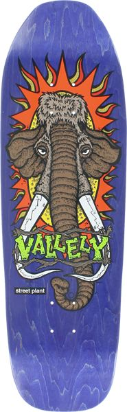 """Street Plant Vallely Mammoth Street Skateboard Deck: 9.5 x 32.62 in purple stain. We love that Streetplant is skater owned that's why we will carry their products. """"Skate to destroy it or collect it."""""""