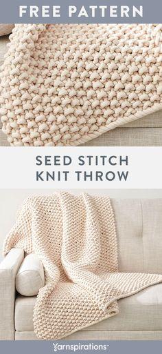 Free knit pattern using Bernat Maker Big yarn. - Crochet and knitting - Free knit pattern using Bernat Maker Big yarn. Knit in one pie - Easy Knitting Projects, Easy Knitting Patterns, Crochet Blanket Patterns, Knitting Stitches, Free Knitting, Crochet Projects, Easy Patterns, Kids Knitting, Knitting Yarn