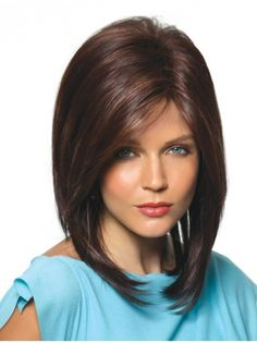 Perfect Brown With Bangs Medium Wigs