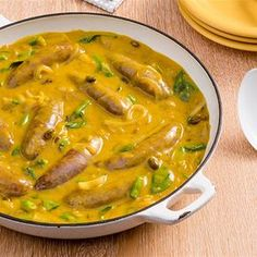Try this Curried Sausages recipe. Sausage Recipes, Meat Recipes, Indian Food Recipes, Chicken Recipes, Dinner Recipes, Cooking Recipes, Healthy Recipes, Recipies, Sausage Meals