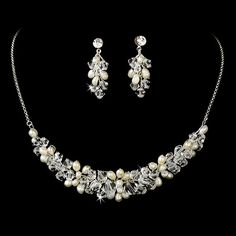 Freshwater Pearl and Swarovski Crystal Wedding Jewelry Set- on sale now at Affordable Elegance Bridal - Bridal Necklace Set, Pearl Necklace Wedding, White Pearl Necklace, Swarovski Crystal Necklace, Swarovski Jewelry, Beaded Jewelry, Swarovski Crystals, Jewellery, Pearl Bridal