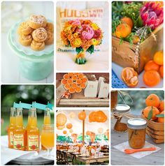 if you go with the reddish-orangish color scheme......i love everything is this photo collage......PEONIES.....wooden flower boxes as center pieces with flowers/succulents.....JAM......PAPER LANTERNS......in a tent......cute cute cute.