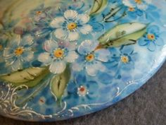"""Woodlawn Studio Hand Painted """"Forget-Me-Not"""" Pattern Powder/Trinket from brysantiques on Ruby Lane"""