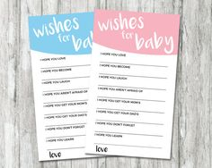 Gender Reveal Games, Wishes for Baby Card, Printable Baby Shower Games, Pink and Blue Wishes for Bab, Gender Reveal Party Ideas Shower Games