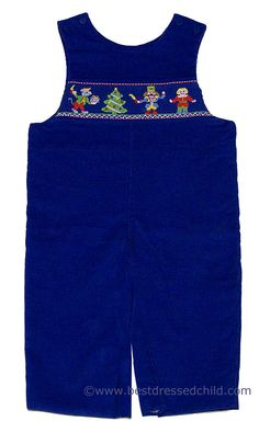 Anavini Baby / Toddler Boys Royal Blue Corduroy Smocked Nutcracker LONGALL