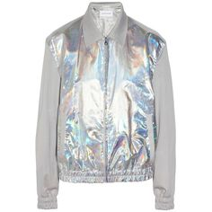 Jonathan Saunders Aaron metallic bomber jacket ❤ liked on Polyvore featuring outerwear, jackets, hologram jacket, bomber style jacket, zipper jacket, flight jackets and jonathan saunders