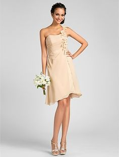 A-line One Shoulder Knee-length Chiffon Bridesmaid Dress With Flower(s) - GBP £ 44.89