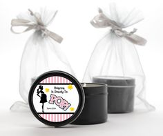 Ready To Pop Pink - Baby Shower Black Candle Tin Favors