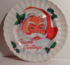 Santa, Claus, Vintage, Christmas, 1950s, Christmas Decoration, Santa cookie plate, antique, shiny bright, 1960s, Serving plate, Nostalgic