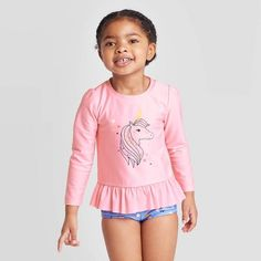 Free shipping on orders of $35+ from Target. Read reviews and buy Toddler Girls' Unicorn Star Long Sleeve Rash Guard Set - Cat & Jack™ Pink 5T at Target. Get it today with Same Day Delivery, Order Pickup or Drive Up. Cute Little Girls Outfits, Kids Outfits Girls, Girls Wear, Toddler Rash, Toddler Girls, Kids Swimwear, Swimsuits, Little Girl Pictures, Girls Swimming