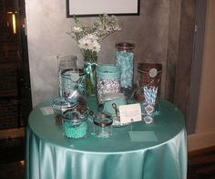 brown and tiffany blue candy buffet by kmjdepalma, via Flickr