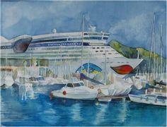 Boote und Schiffe im Aquarell | AIDA im Hafen von Catagena (c) Aquarell von Frank Koebsch