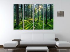 4 panel unframed forest and sunrise sunlight oil painting green Tree woods canvas print Modern Wall Art Home Decoration No Frame Size:30x80cm x4