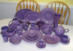 Lilac Fiestaware the most expensive. Only made it for a couple years. I happened to find four dinner plates,four soup bowls and four small plates for $20. Love the color