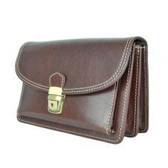 Pánske kožené etue / tašky z pravej, hovädzej Talianskej kože. Leather Handbags, Leather Bags, Stitching Leather, School Backpacks, Leather Material, Briefcase, Leather Men, Brown, Shoulder Bags