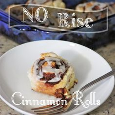 a little of this, a little of that: No Rise (Quick & EASY) Cinnamon Rolls. A little different texture than yeasted, but so much easier! Less than an hour from start to finish.