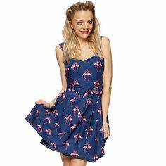 H! by Henry Holland Designer blue flamingo print prom dress- at Debenhams.com