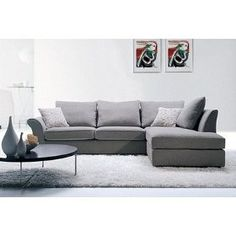 Contemporary Grey Twill Fabric Sectional Sofa with Pillows | Shop home | Kaboodle