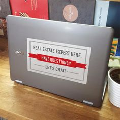 Chic but eye-catching vinyl sticker lets passers-by know you're a real estate agent with all the answers. Pop on your car or laptop, take with you to service or community events you sponsor, or for us