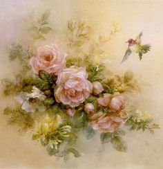 Roses with Hummingbird