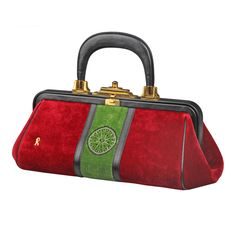 Vintage Iconic Roberto Di Camarino Velour Handbag | From a collection of rare vintage handbags and purses at http://www.1stdibs.com/fashion/accessories/handbags-purses/