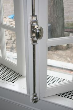 Silver Plated Cremone Bolt 會 Gris Perle Reve會 Cremone Bolt, Window Hardware, Cabinet Hardware, Kitchen Hardware, French Doors Patio, French Windows, Kitchen Furniture, Windows And Doors, Polished Nickel
