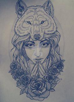 wolf x girl by Aubzwork on DeviantArt