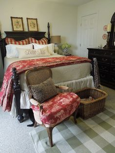 French country cottage bedroom ideas, love the red and wihte toile de Jouy..........**~