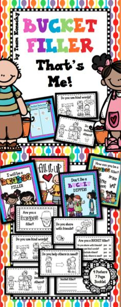 Bucket Fillers is an easily implemented program that teaches children the value of their words and actions. Use these activities along with the books from the Bucket Fillers series and you will see instant changes in your students awareness of their actions and how they effect others. Since starting this program in my classroom, I have found it discussing how we treat others and what we can do when we feel we are being mistreated so much easier.