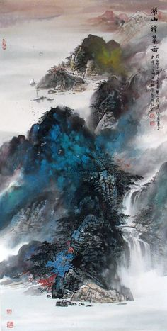 Splashing color of landscape paintings Lake and Mountains Chinese Ink Brush…